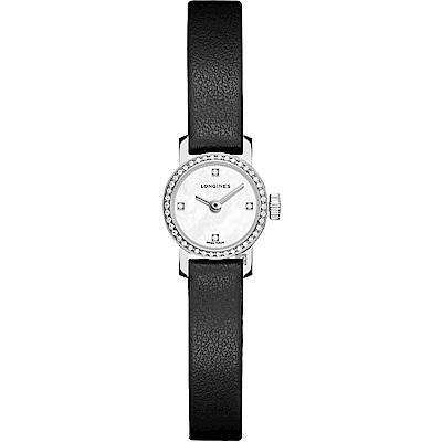 Longines浪琴 Mini 優雅系列真鑽女錶-珍珠貝x黑/16mm