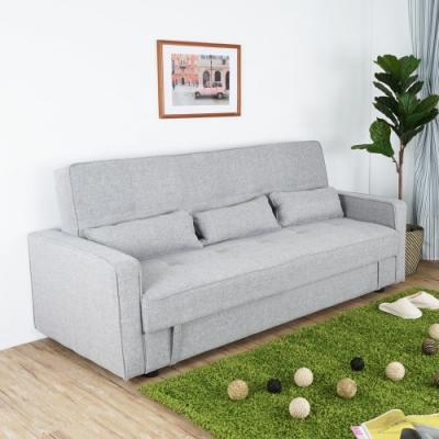 Homelike 卡納收納沙發床-淺灰色