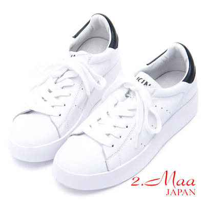 2.Maa-素面牛皮厚底綁帶休閒小白鞋-白