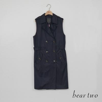 bear two-經典雙排扣無袖背心外套-藍