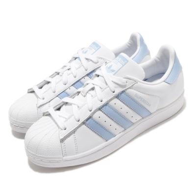 adidas 休閒鞋 Superstar W 復古 低筒 女鞋 海外限定 愛迪達 三葉草 貝殼頭 穿搭 白 藍 EF9247