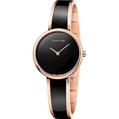 Calvin Klein Seduce誘惑時尚手環式腕錶(K4E2N611)-黑