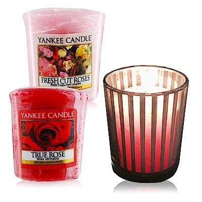 YANKEE CANDLE 香氛蠟燭-真愛玫瑰+玫瑰49gX2+祈禱燭杯