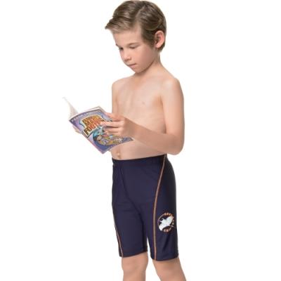 聖手牌 泳裝 斜線邊飾七分男童泳褲