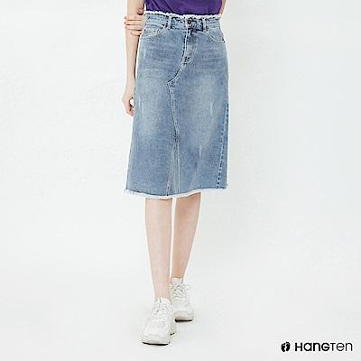 Hang Ten - 女裝 - 率性不收邊牛仔中長裙 - 藍