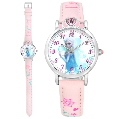 Disney 迪士尼 冰雪奇緣 Elsa 皇冠藍鑽 兒童卡通皮革手錶-白x淡粉/30mm