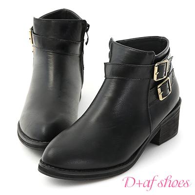 D+AF 騎士精神.質感雙釦環低跟短靴*黑