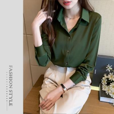 2F韓衣-簡約翻領排扣素色上衣-2色-(S-2XL)