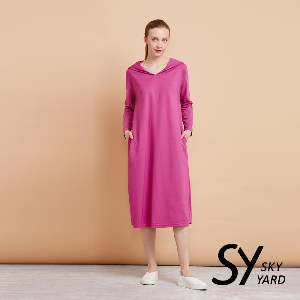 【SKY YARD 天空花園】悠閒長袖披肩領長版洋裝-紫桃
