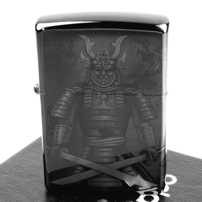 ZIPPO 美系~Knight Fight-侍-武士圖案設計打火機