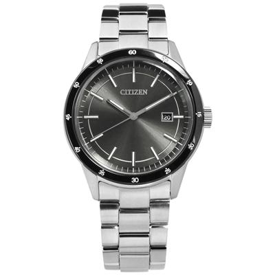 CITIZEN 光動能 極簡純粹 日本製造 日期 防水 不鏽鋼手錶-灰黑色/40mm