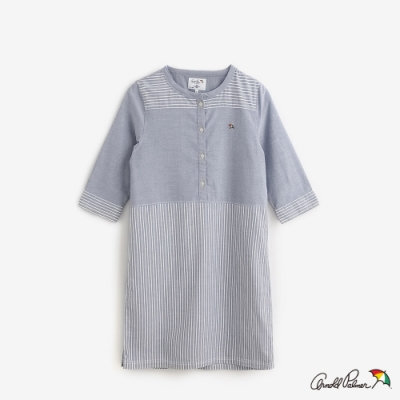 Arnold Palmer-女裝-Oxford條紋素面拼接洋裝-藍