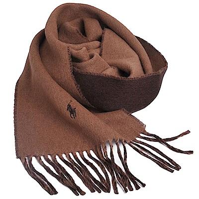 RALPH LAUREN POLO小馬刺繡LOGO雙面配色義大利製羊毛圍巾(駝色/咖啡)