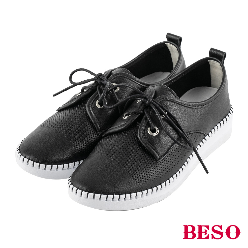 BESO 活力自在 沖孔綁帶休閒鞋~黑
