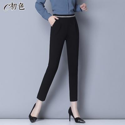 初色  純色百搭高腰直筒褲-共2款-(M-2XL可選)