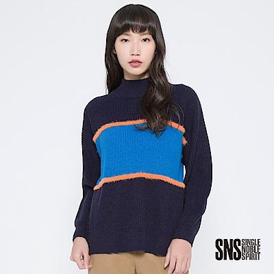 SNS 前衛剪影撞色色塊落肩針織衫(2色)