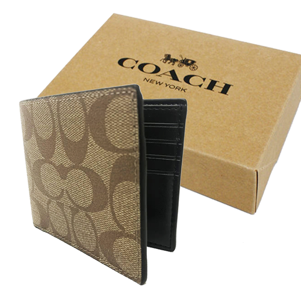 COACH 男款C LOGO6卡照片證件短夾禮盒(焦糖)