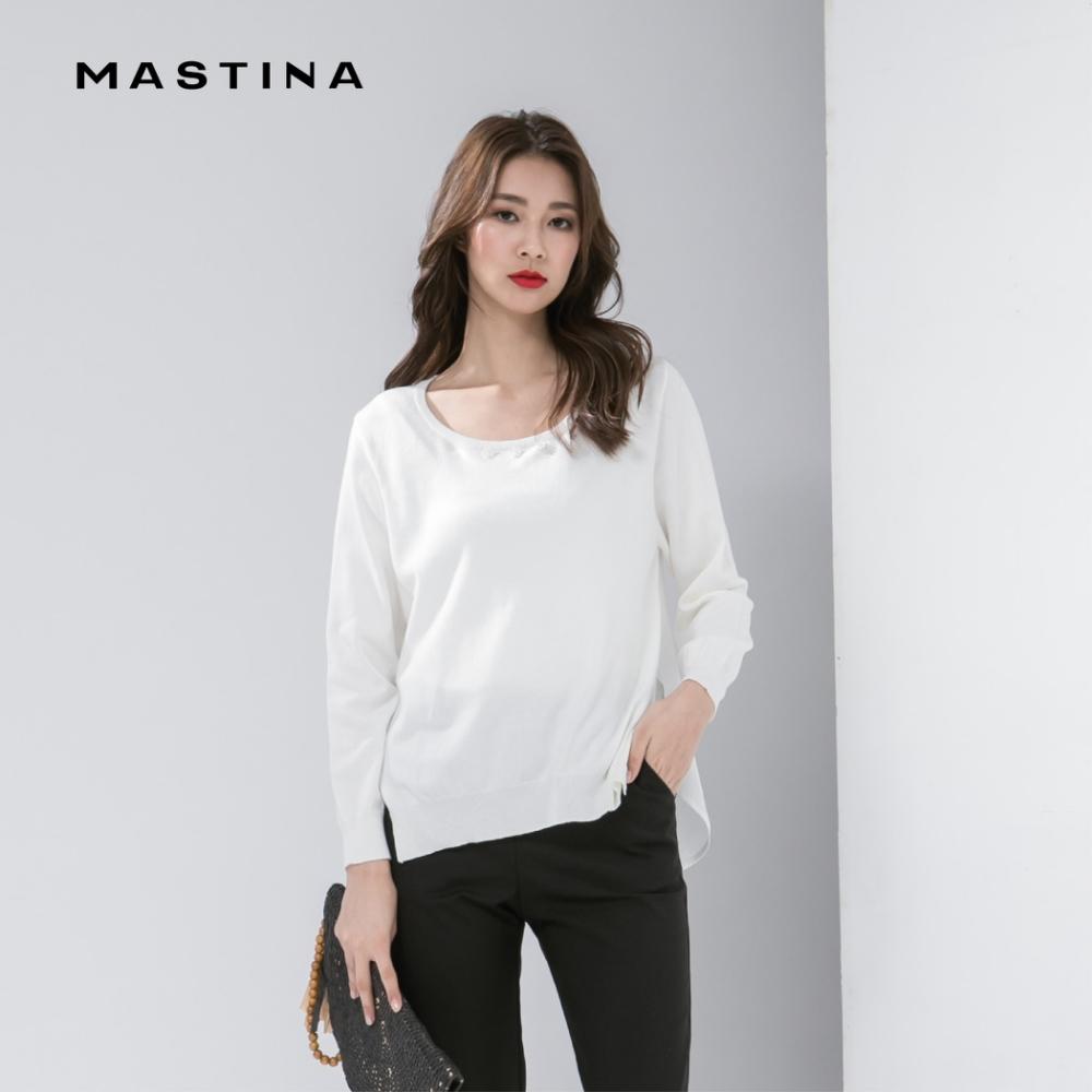 【MASTINA】簡約白花珠飾-針織衫(三色)