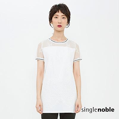 獨身貴族 潮流運動風透膚蕾絲設計上衣(2色)