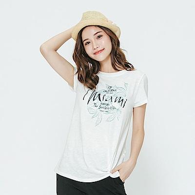 Hang Ten - 女裝 - 有機棉 渡假風綁結T恤-白色