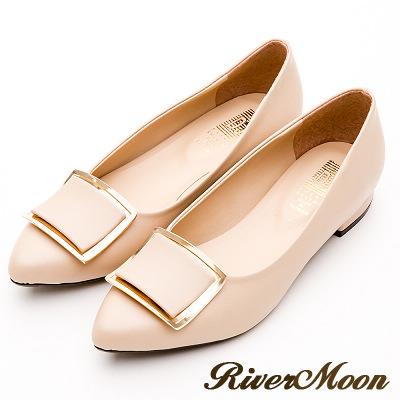 River&Moon跟鞋-台灣製素雅方金扣低跟尖頭包鞋-卡其
