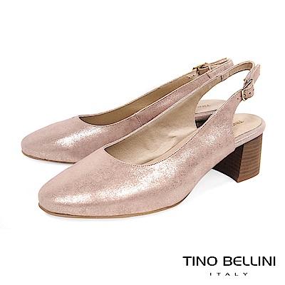Tino Bellini 西班牙進口低調微光元素簡約中跟鞋 _ 粉金