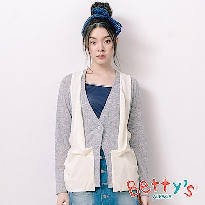 betty's貝蒂思 開襟拼接透膚雪紡假兩件上衣(淺灰)
