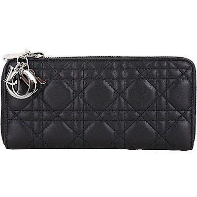Dior Lady Dior 附金屬吊飾籐格紋小羊皮拉鍊長夾(黑色)
