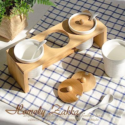 Homely Zakka 美味食光波紋白瓷竹蓋調味料三罐組 (波紋圓款)