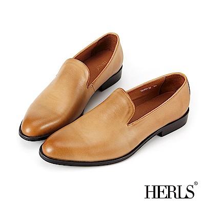 HERLS 全真皮 奶油光擦色橢圓頭樂福鞋-駝色