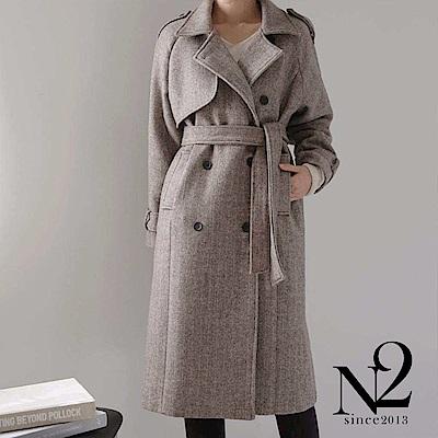 外套 正韓大翻領雙排釦綁帶長版雙色毛呢外套(咖) N2