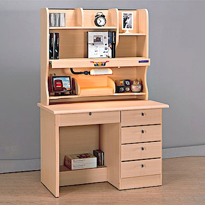 AS-蘿拉白橡3.5尺四抽書桌全組-106x60x165cm