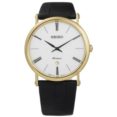 SEIKO 精工 Premier 羅馬 藍寶石水晶牛皮手錶-銀x金框x黑/41mm