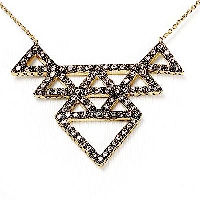 House of Harlow 1960 密鑲水晶多層三角形 部落風金色項鍊 可雙面配戴