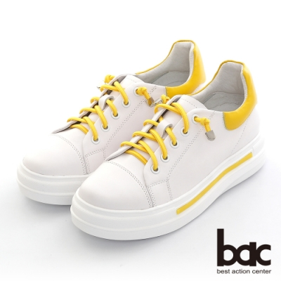 【bac】拼色彈力鞋帶厚底休閒鞋-黃