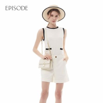 EPISODE - 白色素雅黑色鑲邊設計針織背心