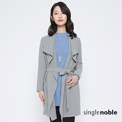獨身貴族 慵懶優雅開襟綁帶長版外套(3色)