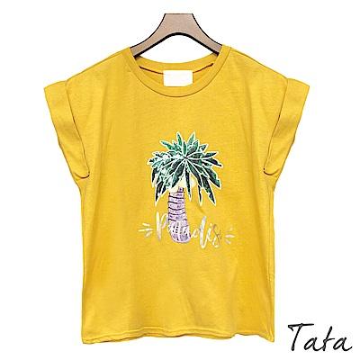 椰子樹銀字上衣 共三色 TATA