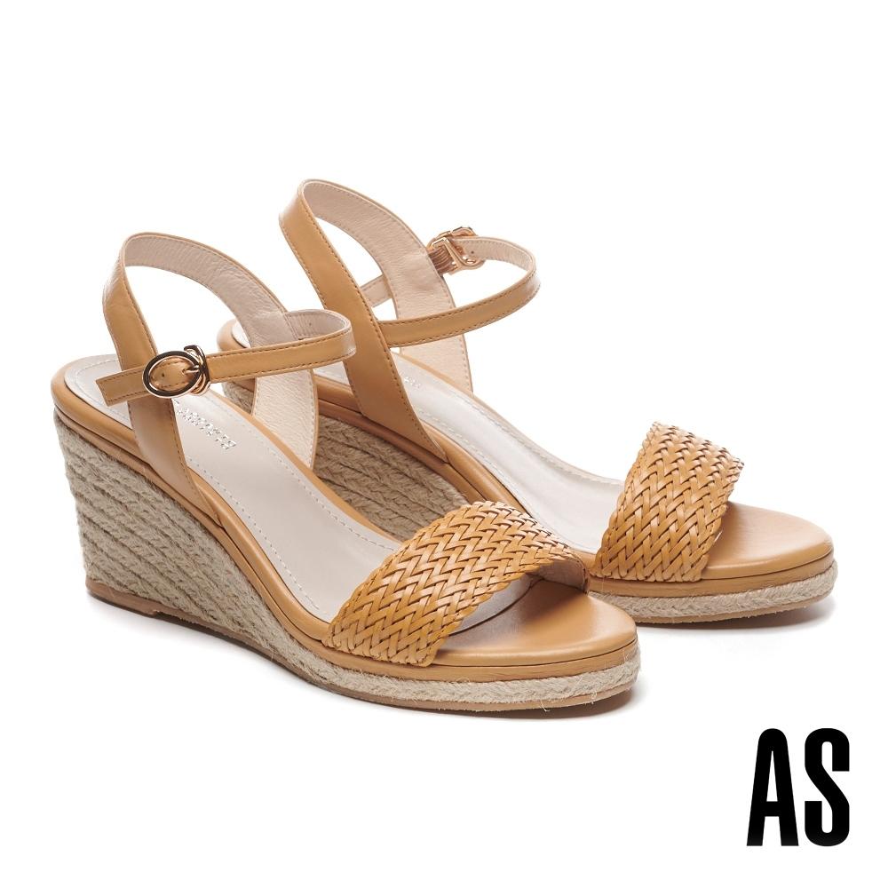 涼鞋 AS 編織造型草編一字楔型高跟涼鞋-米