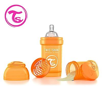 Twistshake 瑞典時尚 彩虹奶瓶/防脹氣奶瓶180ml/奶嘴口徑0.3mm-太陽橘
