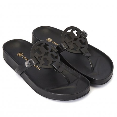 TORY BURCH Miller系列 品牌logo皮革夾腳涼鞋(經典黑)