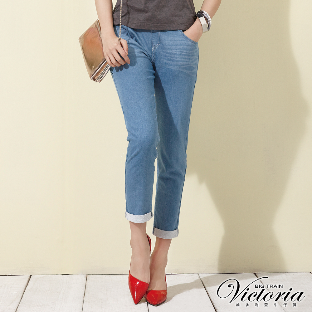 Victoria 舒活針織綁帶男友褲-女-淺藍