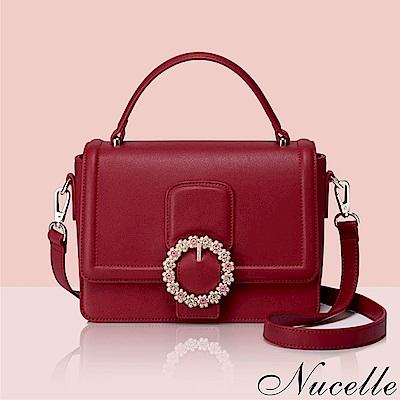 Nucelle 璀璨花漾釦飾兩用包 絢麗紅