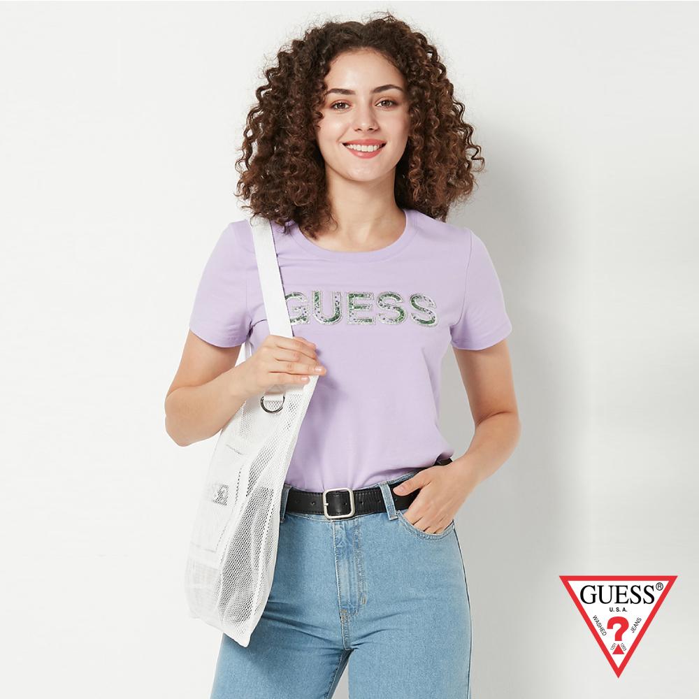 GUESS-女裝-亮片經典LOGO短T,T恤-紫 原價1790