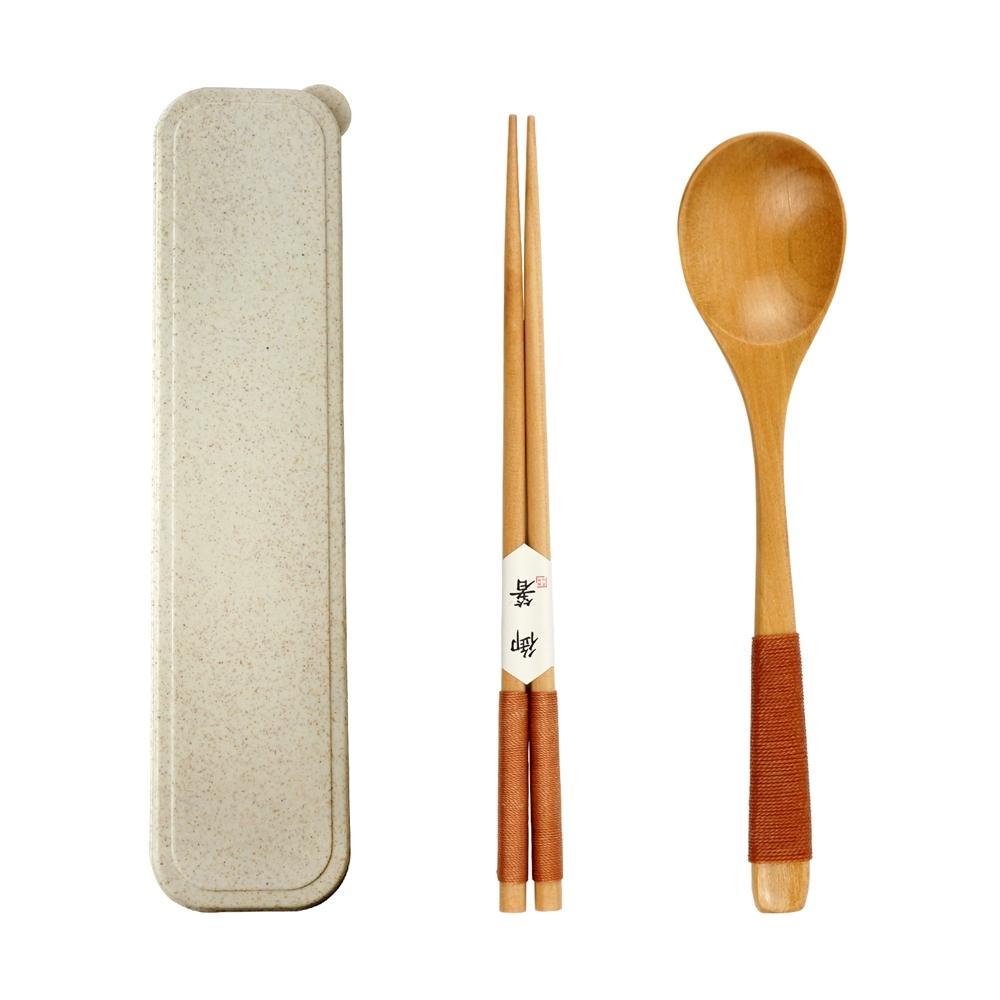 Caldo卡朵生活 日和木質可攜環保餐具2件組附盒(2款任選)(快)
