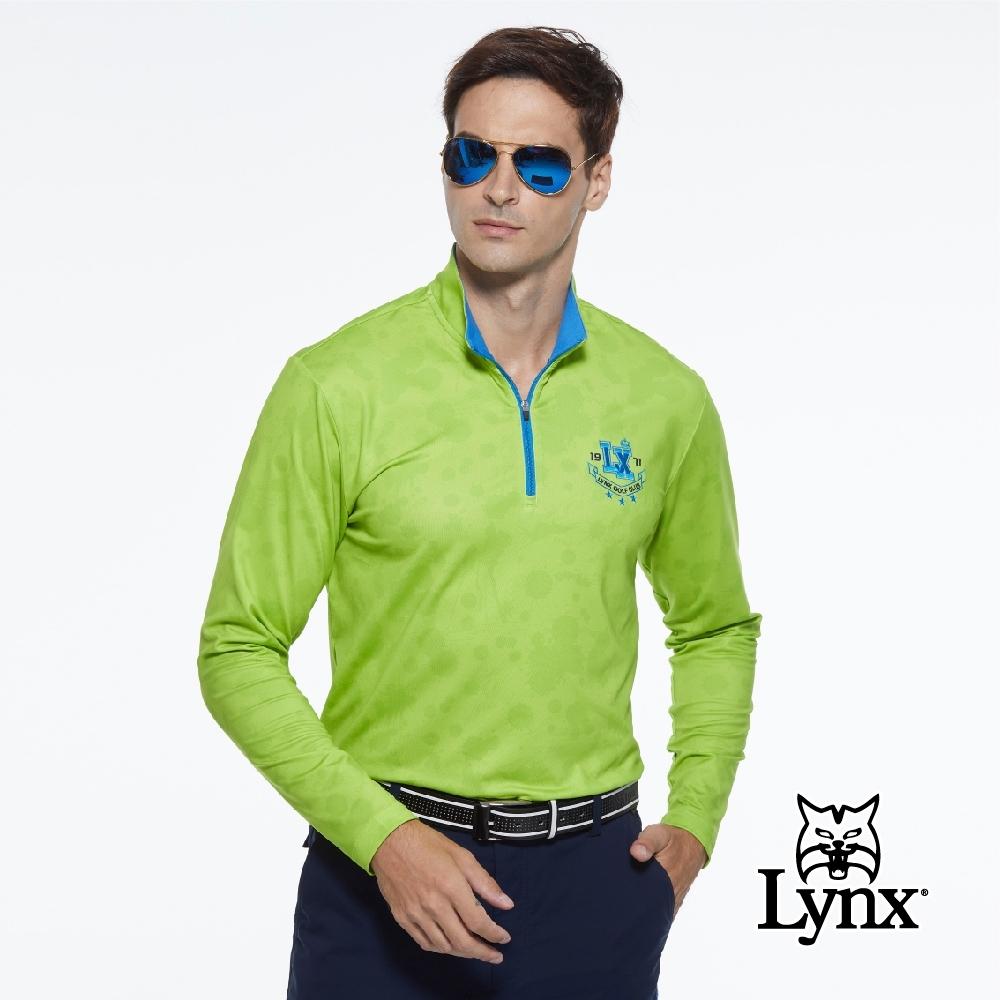 【Lynx Golf】男款吸濕排汗合身版潑漆印花Lynx繡花長袖立領POLO衫-亮綠色