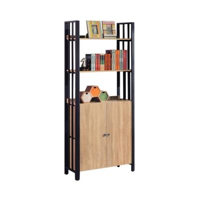 柏蒂家居-肖恩工業風2.8尺二門開放式書櫃/書架/收納置物架-85x40x203cm