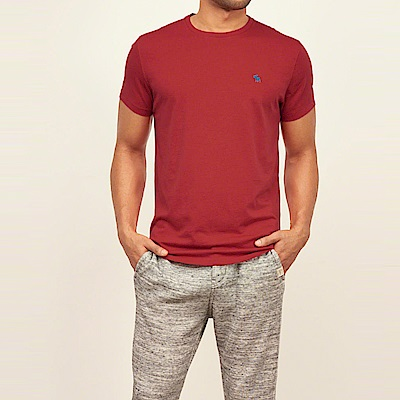 麋鹿 AF A&F 經典電繡麋鹿標誌素面短袖T恤-紅色