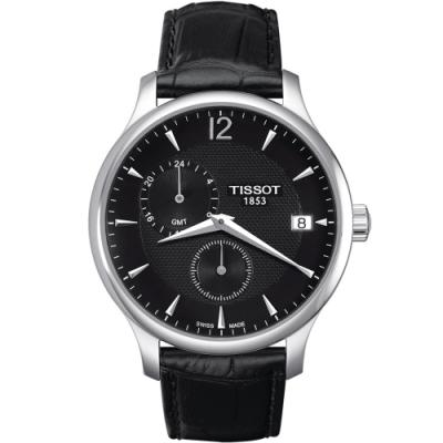 TISSOT 天梭 Tradition系列 GMT兩地時間時尚錶(T0636391605700)42mm