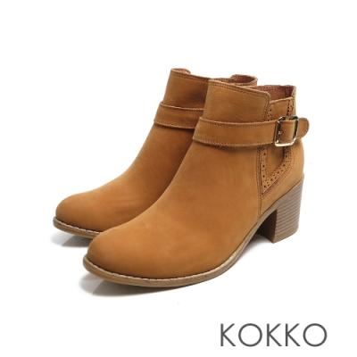 KOKKO -日出的光金扣真皮粗跟雀爾喜短靴 - 楓葉棕